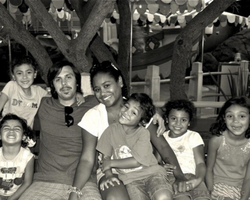 Multiracial family at Disneyland, CA
